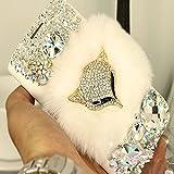 Evtech (tm) Goldenen Fuchs weicher Pelz Diamante Strass Bling Kristall Glitter Fashion Style Leder Tasche für Samsung Galaxy S6 Edge Plus S6 Edge + (100% Handarbeit)