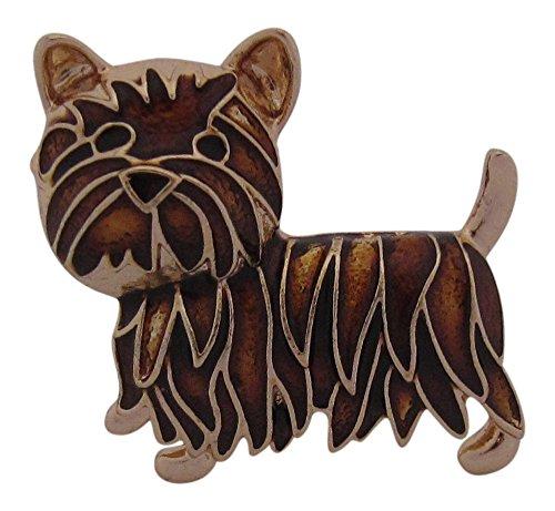 Brosche Boutique braun und gold Emaille Brosche Schottische Terrier Scotty Hund Cairn -