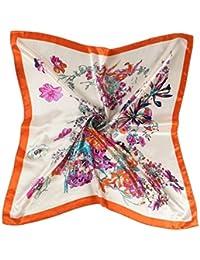 Faux Écharpe En Soie Fleur Imprimé Foulard Écharpe Foulard Square Lady Cou  Vêtements Chics Satin Écharpe 64622146285