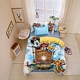 BEDSETAAA Winter Vierteilige Heimtextilien Set Bettbezug Kissenbezug Cartoon Bettwäsche Kinderbettwäsche Home Queen Bed Set 155x215cm Himmel