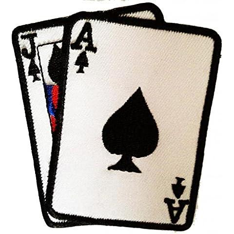 Ace comodín póker de Ace Gamble Biker Patch ''8 x 8 cm'' - Parche Parches Termoadhesivos Parche Bordado Parches Bordados Parches Para La Ropa Parches La Ropa Termoadhesivo Apliques Iron on Patch Iron-On