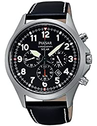 Pulsar Herren-Armbanduhr XL Solar Chronograph Quarz Leder PX5007X1