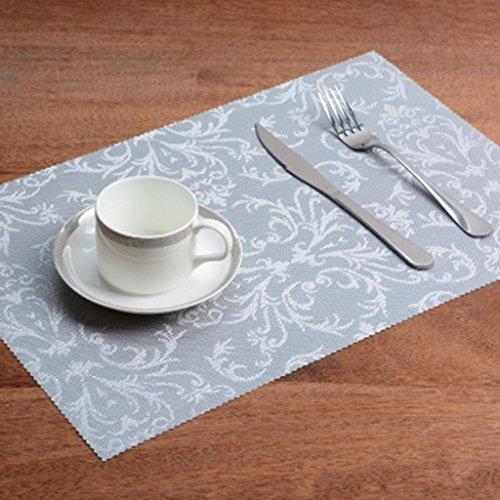 MFFACAI Doppelt rutschfest Wasserdicht Tischset Tischsets Geflochtene Pad Isolierpolster Ölkissen Rechteck Untersetzer Essensmatte PVC Anti-Heiß Tischset (EIN Satz von 4) 45 * 30cm, b (Rot Kork Tischsets)