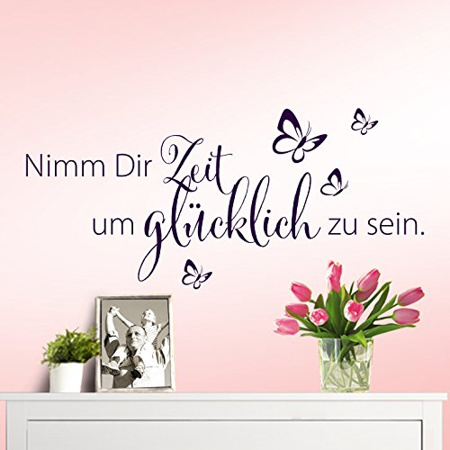 wandaro w3307 wandtattoo spruch nimm dir zeit um gl cklich zu sein schwarz wandaro. Black Bedroom Furniture Sets. Home Design Ideas