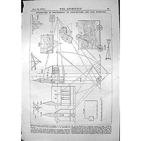 Stampa Antica dei Diagrammi 1870 di Rilievo di Architettura di Fotografia di Applicazione - Antichi Da Collezione Delle Fotografie