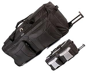 "Extra Large 34"" Wheeled Hand Luggage Trolley Baggage Bag Holiday Suitcase Black"