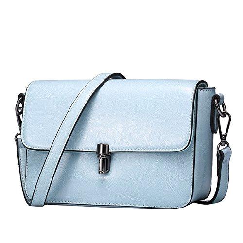Dissa Q0740 Damen Leder Handtaschen Top Handle Satchel Tote Taschen Schultertaschen,22x8x13 B x T x H (cm) Blau