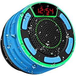Enceinte Bluetooth, moosen IPX7 étanche Portable sans Fil Haut-Parleur Bluetooth avec FM Radio, LED Display, TWS and Light Show, Waterproof Shower Speaker pour Salle de Bains Pool Plage Outdoor