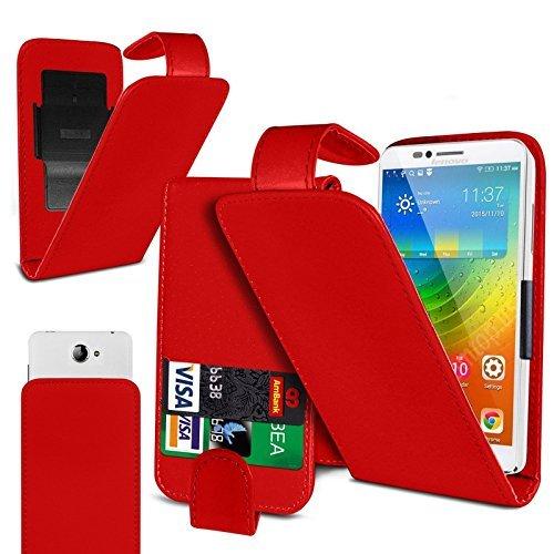 Preisvergleich Produktbild N4U Online - Clip On Kunstelder Klapptasche Cover Beutel Für ZTE Nubia Z9 Max - Verschiedene Farben - Rot
