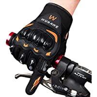 Zyurong® Cycling Gloves Mountain Bike Gloves Road Racing Bicycle Gloves Light Silicone Gel Pad Biking Gloves Full Finger Bicycling Gloves Riding Gloves Men/Women Work Gloves (XL, Black + Orange)