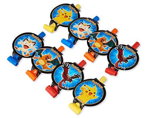 Amscan Electrifyingly Cute Pikachu & Friends Birthday Party Blowouts Favor , 5, Yellow/Blue/Orange/Red by Amscan