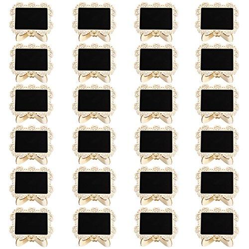Anladia 24pcs Mini Tableau Noir Message memo Ardoise avec Support numéro de Table Marque Place Panneau Carte nom Mariage Fête
