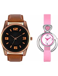 SVM VL22VT13 New Couple Combo Designer Stylish Leather & Plastic Belt Analog Watch For Men & Women
