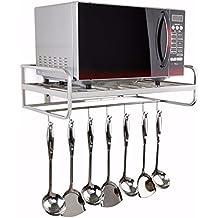 Utensilios de cocina de la tostadora de acero inoxidable horno de microondas rack–Estantería de pared capa estante con gancho admitir accesorio de
