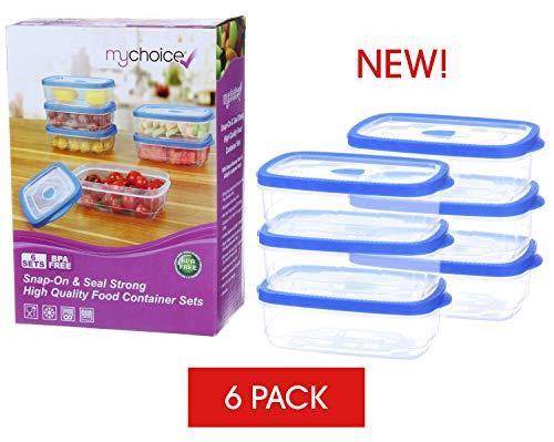 Mychoice snap & seal - contenitori per alimenti, resistenti e di alta qualità, con coperchi ermetici e a prova di perdite, con rilascio di vapore, microonde, lavastoviglie, freezer, 6 x 1000 ml-6 set