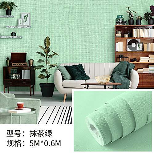 Verdicken selbstklebende Papiertapete wasserdicht feuchtigkeitsbeständig einfarbig Tapete Tapete Schlafzimmer weiß Tapete Matcha grün