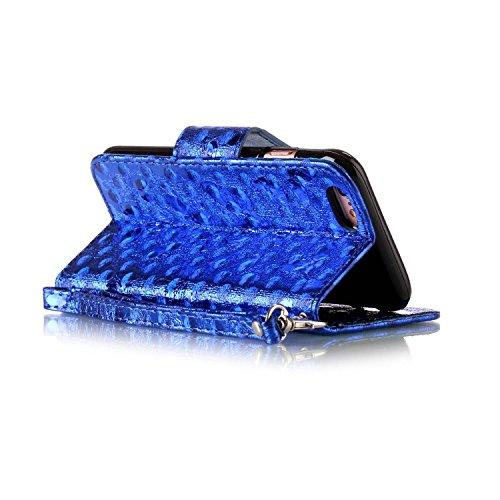 Etsue iPhone 6 Plus /6S Plus 5.5 Cover,iPhone 6 Plus /6S Plus 5.5 Custodia in Pelle Portafoglio Lusso Style Vintage Campanula Modello Artificiale Leather Pu Puro Wallet/Libro/Flip Antigraffio Bumper P blu /Laser