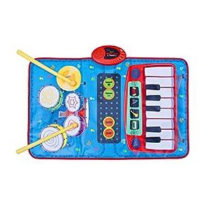 Global Gizmos 50770Doble Dos en uno Musical para niños Alfombra de Juegos Teclado y Kit de Tambor