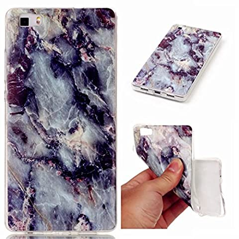 MUTOUREN Huawei P8 Lite case cover transparent TPU silicone mobile phone protective shell anti-scratch anti-shock Huawei P8 Lite cover crystal transparent case cover TPU bumper cover-black and white