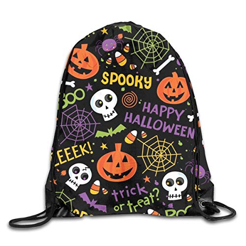 Happy Halloween Trick Or Treat Spooky Spider Pumpkin Drawstring Backpack Gym Bag Travel Backpack Purple Lotus Mandala Small Drawstring Backpacks Women Men Adults