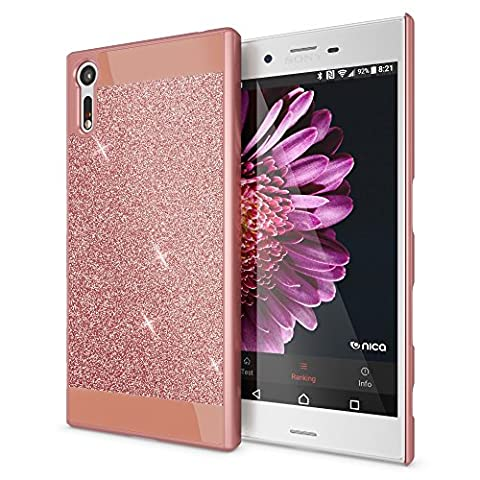 Sony Xperia XZ Hard-Case by NICA, Sparkly Mobile Phone Back-Cover Ultra-Thin Skin Protector, Sparkle Glitter Shock-Proof Bumper Flexible Slim-Fit Protective Bling Backcase for Sony-XZ, Color:Rose