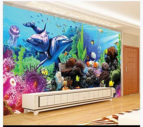 Murale carta da parati parete subacquea per il fondo di pesci tropicali in 3d, acquario world aquarium, 200cmx140cm (78.7 per 55.1 in)