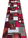 Passatoia tappeto cucina stampa digitale Cuori colori brillanti lavabile antiscivolo varie misure - Fantasia - 50x300 cm