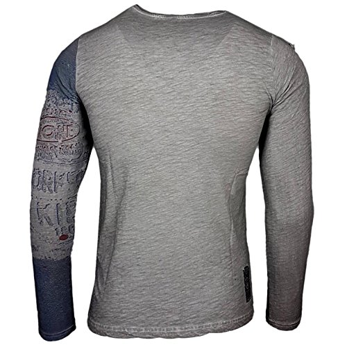 Rusty Neal Printed Motiv Druck Herren Langarm Shirt T-Shirt Longshirt A1-RN10109 Grau