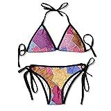 Colored Flowers Sexy Women Beach Swimwear Two Pieces Bathing Suit Bikini Top