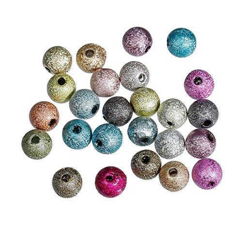 SiAura Material 60 Stück Acrylperlen 6mm mit 1mm Loch, Rund, Mix Bunt zum Basteln und Auffädeln