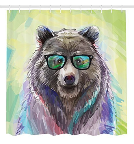 prz0vprz0v Funny Animal Shower Curtain by, Cool Low Poly Hipster Bear Wild Animal Portrait Spectacled Bear with Fluffy Colorful Fancy Decor Cute Charming Bathroom, Lime Green Blue Gray Pink ()
