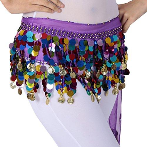 (Damen Belly Dance Bauchtanz Kostüm Hüfttuch Münzgürtel Kostüm Hüfttuch Gürtel Chiffonrock Tanzrock One Size QC Violett)