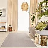 Schlingen Teppich Everest - Farbe: Beige Grau Caramel Anthrazit oder Rot | hochwertige und strapazierfähige Qualität | Fußbodenheizung geeignet | für Wohnzimmer Schlafzimmer Kinderzimmer und Büro, Farbe:Beige, Größe:200 x 220 cm