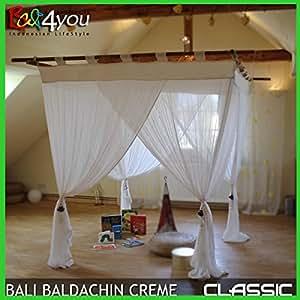 Bali Baldaquin classique blanc nature 200x200 Moustiquaire inclu 4 embrasses