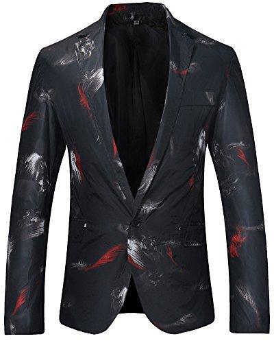 Moda slim fit blazer casual giacca da uomo cappotto elegante nero l