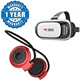 Captcha® Mini-503 Bluetooth Stereo Headphone With TF/Sd Card Slot And Vr Box 2.0 Headset Virtual Reality 3D Glasses Compatible With Xiaomi, Lenovo, Apple, Samsung, Sony, Oppo, Gionee, Vivo Smartphones (One Year Warranty)