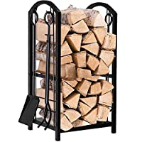Fireplace Log Rack with 4 Tools Indoor Outdoor Fireside Firewood Holders Lumber Storage Stacking Black Wrought Iron Logs Bin Holder for Fireplace Toolset Brush Shovel Poker Tongs 15.8 x 29.1 x 11.8in