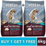 Meat Up Adult Dog Food, 3 kg (Buy 1 Get 1 Free)
