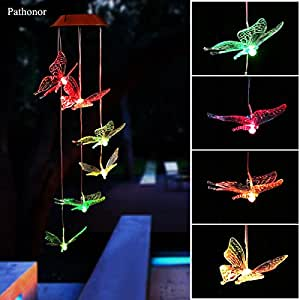 Solar Led Butterfly Wind Chimes, Pathonor Color-changing Wind Chime Waterproof Automatic Light Sensor Outdoor Decor for Home Party Balcony Porch Patio Garden Ornaments, Upgraded Version