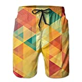 Men's Shorts Summer Fit Swim Trunk Quick Dry Classic Orange Gradient Gradual Pattern Printed Beach Shorts with Pockets XX-Large