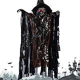 elfisheu Halloween Deko Gruselig Zombie Geist Gespenst Hängend Augen Glänzend Sound Gesteuerte für Halloweendeko Halloween Dekoration (Braun)