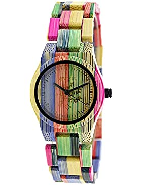 Bewell Damen Holz Armbanduhr, die Colorful Bambus 100% Quarz Analog watches