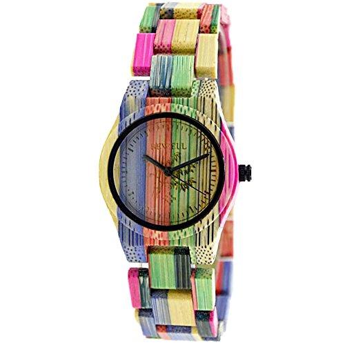 Bewell Orologio in legno donna 100% handmade colorato naturale di bambù, analogico al quarzo watches (donna viola)