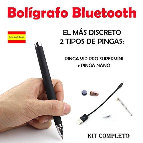 Bolígrafo Bluetooth con un exclusivo color negro y sellado otorgándole una disimulada apariencia. El bolígrafo transmite el sonido al Pinga y posee un micrófono externo de alta sensibilidad oculto en la parte superior para su uso en llamadas telefóni...