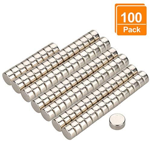 Willingood Neodym-Super-Magnete Runden 6 x 3 mm [100 Stücke] Sehr starke Magnete für Glas-Magnetboards, Magnettafel, Whiteboard, Tafel, Pinnwand, Kühlschrank, und vieles mehr