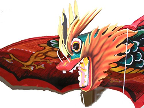 Grande tradicional hecho a mano rojo Bali Dragón cometa–envergadura 118cm, longitud 218cm–comercio justo