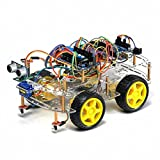 TBS2653 Kit de montage complet Arduino Voiture Robot 4WD intelligente avec détecteurs d'obstacles à ultrason et infrarouge - Kit d'apprentissage DYI programmable - 4WD Arduino Smart Car Robot Learning Starter Kit Smart Programmable Robot DIY FR...