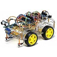 Kit completo TBS2653 Robot Arduino 4WD auto con rilevatori di ostacoli intelligenti a ultrasuoni e infrarossi - Learning Kit DYI programmabile - 4WD Arduino Smart Car Robot Learning Starter Kit Smart Programmable Robot DIY - Modulo Di Controllo Staffa