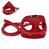 elfisheu Hundegeschirr Softgeschirr Atmungsaktiv Weste Leine Halsband Geschirr Set für Hunde Katze Haustier (Rot)