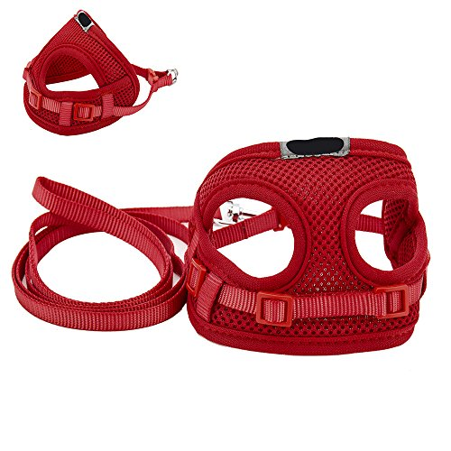 Hundegeschirr Softgeschirr Atmungsaktiv Weste Leine Halsband Geschirr Set für Hunde Katze Haustier (Rot)